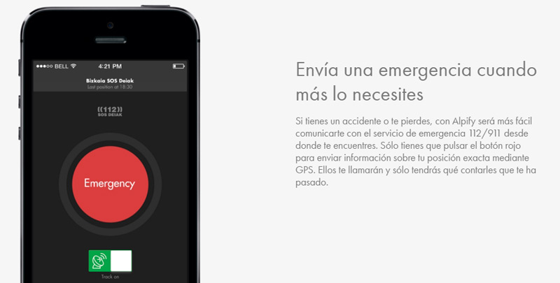 alpify app emergencia outdoor